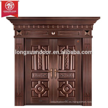 Puertas de entrada personalizadas de fábrica, Puerta de bronce de doble oscilación, Puerta de cobre de Villa