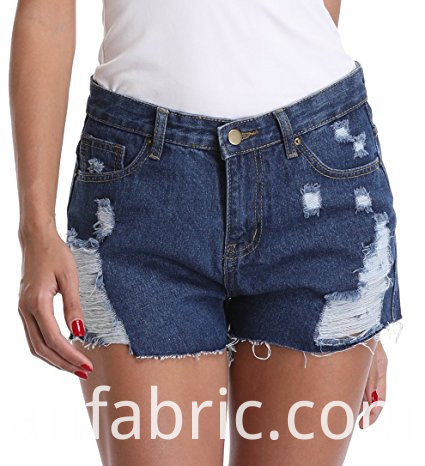 535women S Frayed Washed Mid Rise Denim Shorts Pants