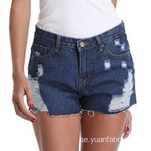 Kvinnors Frayed Washed Mid Rise Denim Shorts Byxor