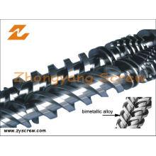 Tornillo bimetálico de plástico reciclado de doble husillo y barril bimetálico para tornillos Paralleltwin
