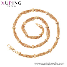 44776 Xuping Jóias 18K Banhado A Ouro Multi Layer Bead Necklace