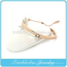 Galjanoplastia Oro Corte de láser Brazalete de cristal Acero inoxidable Banda de goma Pulsera Patrones Diseño Para mujeres