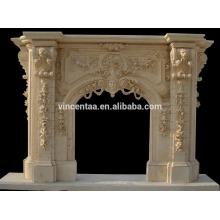 Grand manteau de cheminée en marbre de style européen
