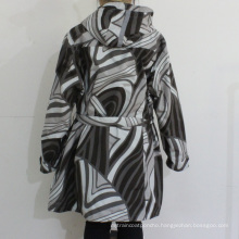 Black and White Geometric Pattern Hooded PVC Raincoat for Woman