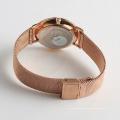Edelstahl-Mesh-Uhr maßgeschneiderte Logo auf Wölbung Caseback Nickel frei