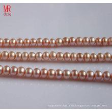 9-10mm rosa Süßwasserperlenstrang, Knopfrund (ES122)