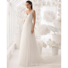 Vestido de casamento de vestido de noiva de renda aberta V Sexy Lace e Tulle nupcial