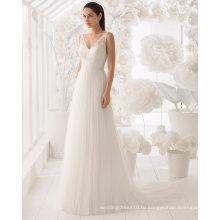 Сексуальная открытой спиной V шеи кружева и тюль свадебное платье свадебное платье