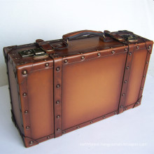 High end customized vintage leather suitcase