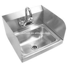 Dissipador comercial de aço inoxidável montado respingo da lavagem da mão para o restaurante