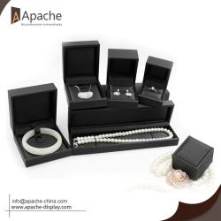 Black Brushed PU Ring Bracelet Pendant Jewelry Set Box