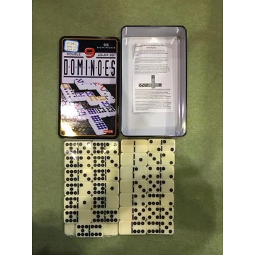 Plastic Dominoes Set In Tin Box