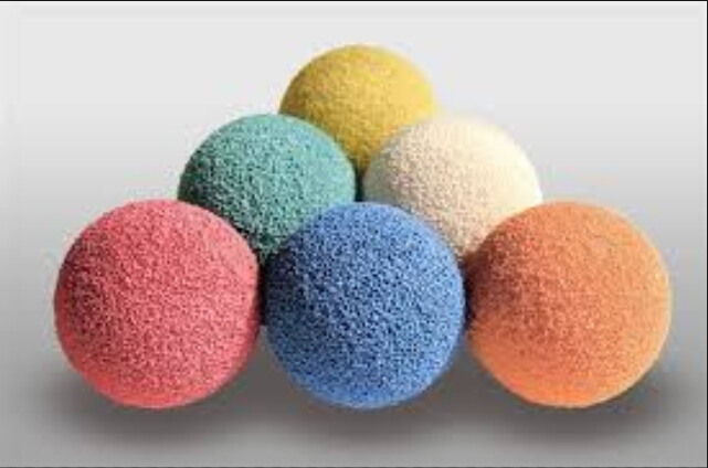 colorful concrete pump cleaning ball