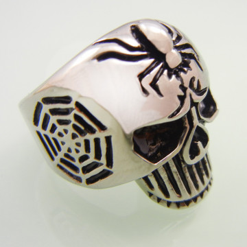 Stainless Steel Skull Spider Ring
