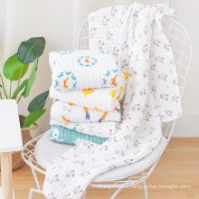 korean custom six layers print top selling elephant sublimation muslim blank 100% cotton coton crochet baby blanket