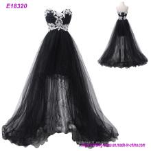 Vestido de noche popular de las señoras una línea vestido de noche de las flores del partido de los vestidos de Tulle Vestido de noche largo