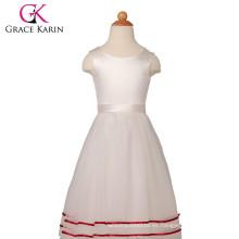 Grace Karin sin mangas de raso Tulle Flower Girls vestidos para la boda CL4831