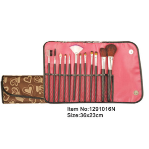 12pcs plastic handle animal or nylon hair makeup brush kit with printed canvas purse