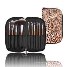 New 10PCS Nylon Hair Cosmetic Brush Set with Zipper Pouch