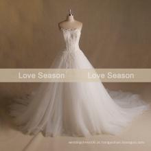 MRY017 2017 aliexpress desossado alto trem longo verão fora vestido de casamento porta vestido strapless sweetheart renda casamento vestidos de casamento