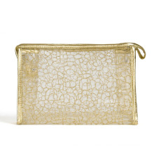 Lady Fashion Golden Nylon Mesh Kosmetik Clutch Waschbeutel (YKY7536-2)