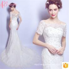 Modern Puffy Tulle Sexy Mermaid Cap Sleeve Soft Net Wedding Dress