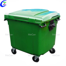 Промышленная пластиковая наружная мусорная корзина с резиновыми колесами