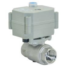 Válvula de bola de agua accionada eléctrica de 2 vías de 2 vías Válvula de acero inoxidable de flujo motorizado con operación manual (T15-S2-B)