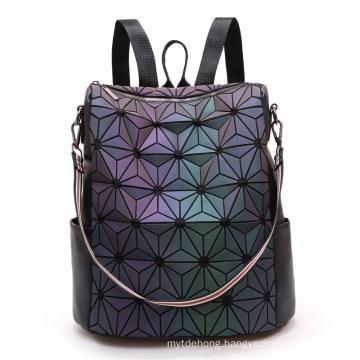 Fashion Women Backpack Luminous Reflective Bag Shining Geometric Triangle Small School Bag