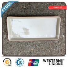 Plaque rectangulaire 10 '' en excès de céramique (bord de couleur) Stock à vendre