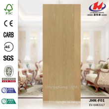 JHK-F01 Textura recta Venta caliente Chinese Lowes Engineered ASH HDF Molded Veneer Flush Door Panel