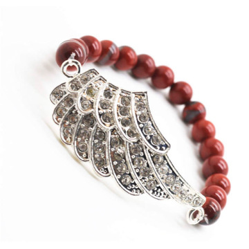 Red Jasper 8MM Round Beads Stretch Gemstone Bracelet with Diamante alloy big wing Piece