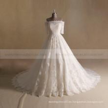 Princesa Style A- Línea de encaje 3/4 de manga de vestido de novia larga cola magnífica