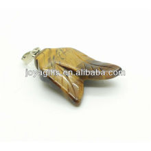 Double leaves shape tiger eye pendant gemstone pendant