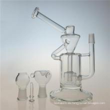 Klein reciclado de doble cámara DAB Rig tubo de fumar de vidrio (ES-GB-402)