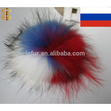 Party National Flag Pom Pom Real Raccoon Fur Balls Colored Decoration Fur Balls