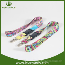 Polyester material printing cymk neck lanyard with lobster claw