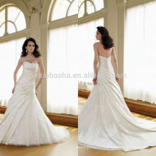Vogue 2014 Satin Ball Gown Wedding Dress With Strapless Neckline Ruched Bodice Lace Skirt V-Shaped Back Long Bridal Gown NB0870
