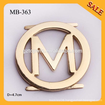 MB-363 Custom 4.7cm Engraved M Letter Metal Logo Labels Round Shape Metal Badge For Lady Handbags