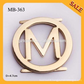 MB-363 Custom 4.7cm Engraved M Letter Metal Logo Labels Round Shape Metal Badge For Lady Handbags