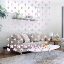 El último diseño romántico de acero inoxidable de color rosa cortina de cuentas