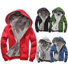 Inverno Quente De Alta Qualidade Planície Completa Zip-up Hoodies
