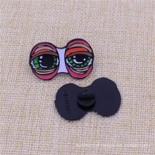 Personalizar seu design macio esmalte preto níquel Pin com tampa de borracha
