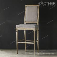 Antique wood fabric cushion bar stool high chair