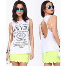 2015 Moda Design Impresso Halter Slim Vest para as Mulheres Top