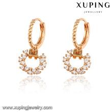 92187 Xuping nuevos diseños de aretes de un gramo de oro para niñas