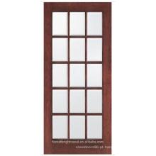 Porta francesa 15 Lite de madeira com vidro chanfrado