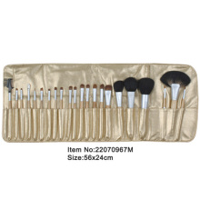 22pcs oak Simulation plastic handle animal/nylon hair makeup brush tool set with metal satin case