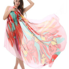 Hot sale fashion design pareo printing long sunscreen shawl silk beach scarf