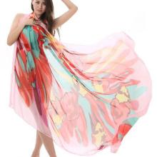 Venda quente design de moda pareo impressão longo protetor solar xale lenço de praia de seda